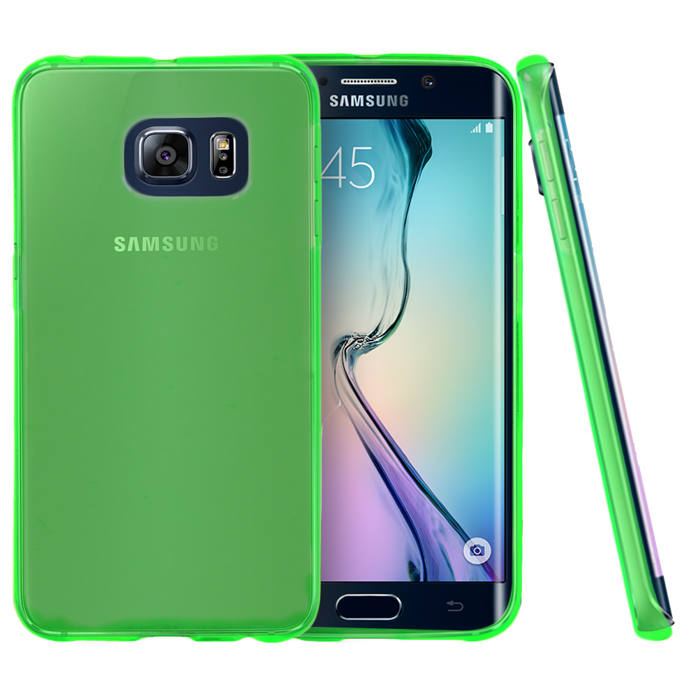 Samsung Galaxy S6 Edge Case,  [Neon Green]  Slim & Flexible Anti-shock Crystal Silicone Protective TPU Gel Skin Case Cover