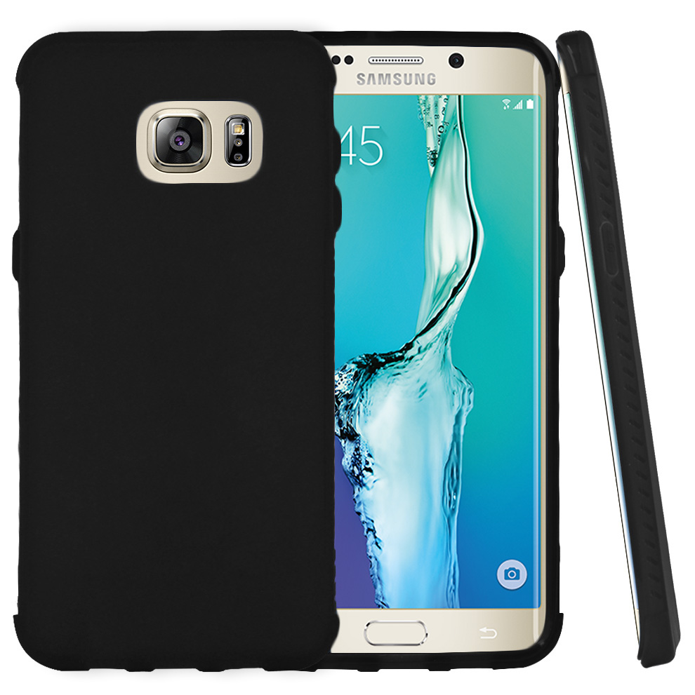 Samsung Galaxy S6 Edge Plus,  [Black]  Slim & Flexible Anti-shock Crystal Silicone Protective TPU Gel Skin Case Cover