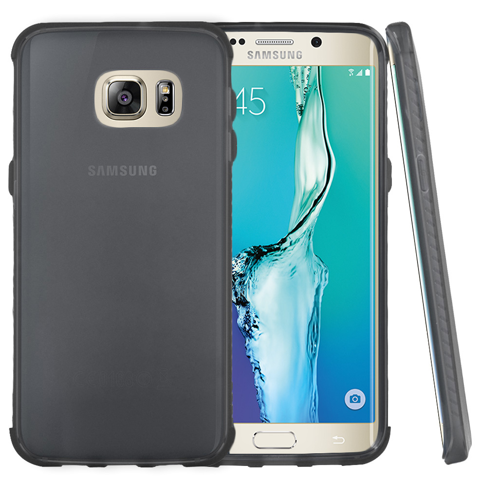 Samsung Galaxy S6 Edge Plus,  [Smoke]  Slim & Flexible Anti-shock Crystal Silicone Protective TPU Gel Skin Case Cover