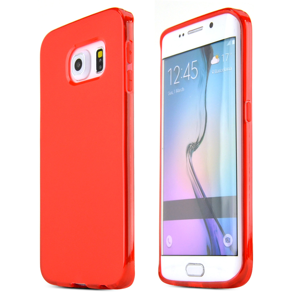Samsung Galaxy S6 Edge Case,  [Red]  Slim & Flexible Anti-shock Crystal Silicone Protective TPU Gel Skin Case Cover