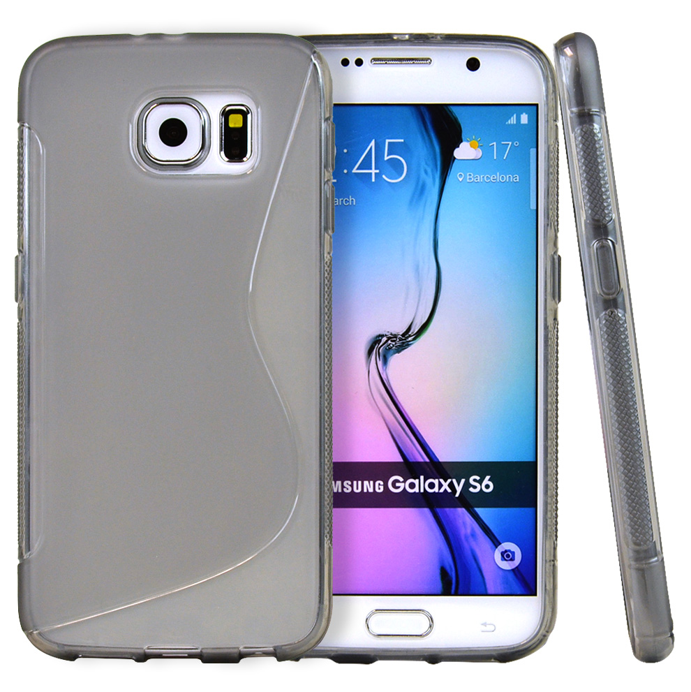 Samsung Galaxy S6 Case,  [Smoke S Design]  Slim & Flexible Anti-shock Crystal Silicone Protective TPU Gel Skin Case Cover