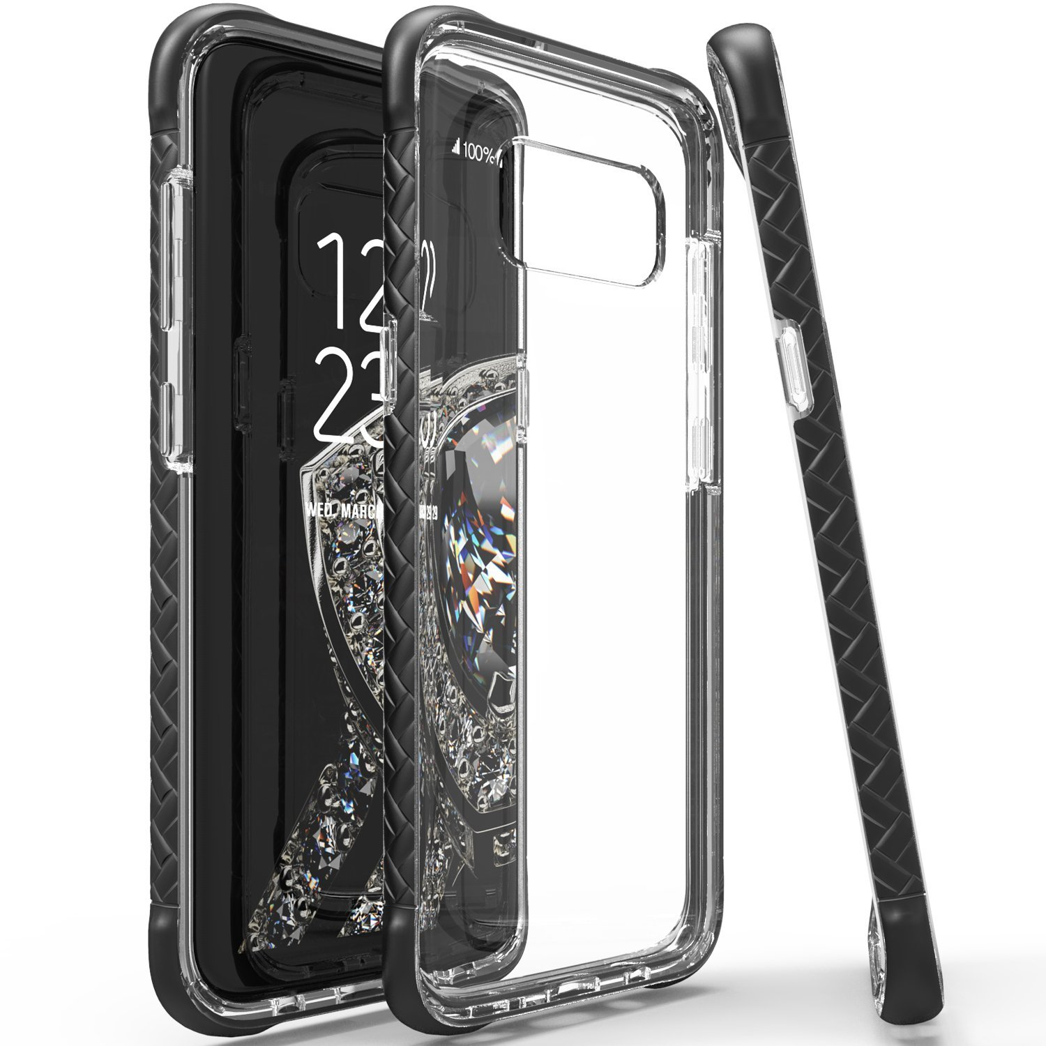 Scottii [Samsung Galaxy Galaxy S8 Plus Case] TPU Case with Removable BLACK Borders and CLEAR Back, Slim & Flexible Anti-shock Crystal Silicone Protective TPU Gel Skin Case Cover