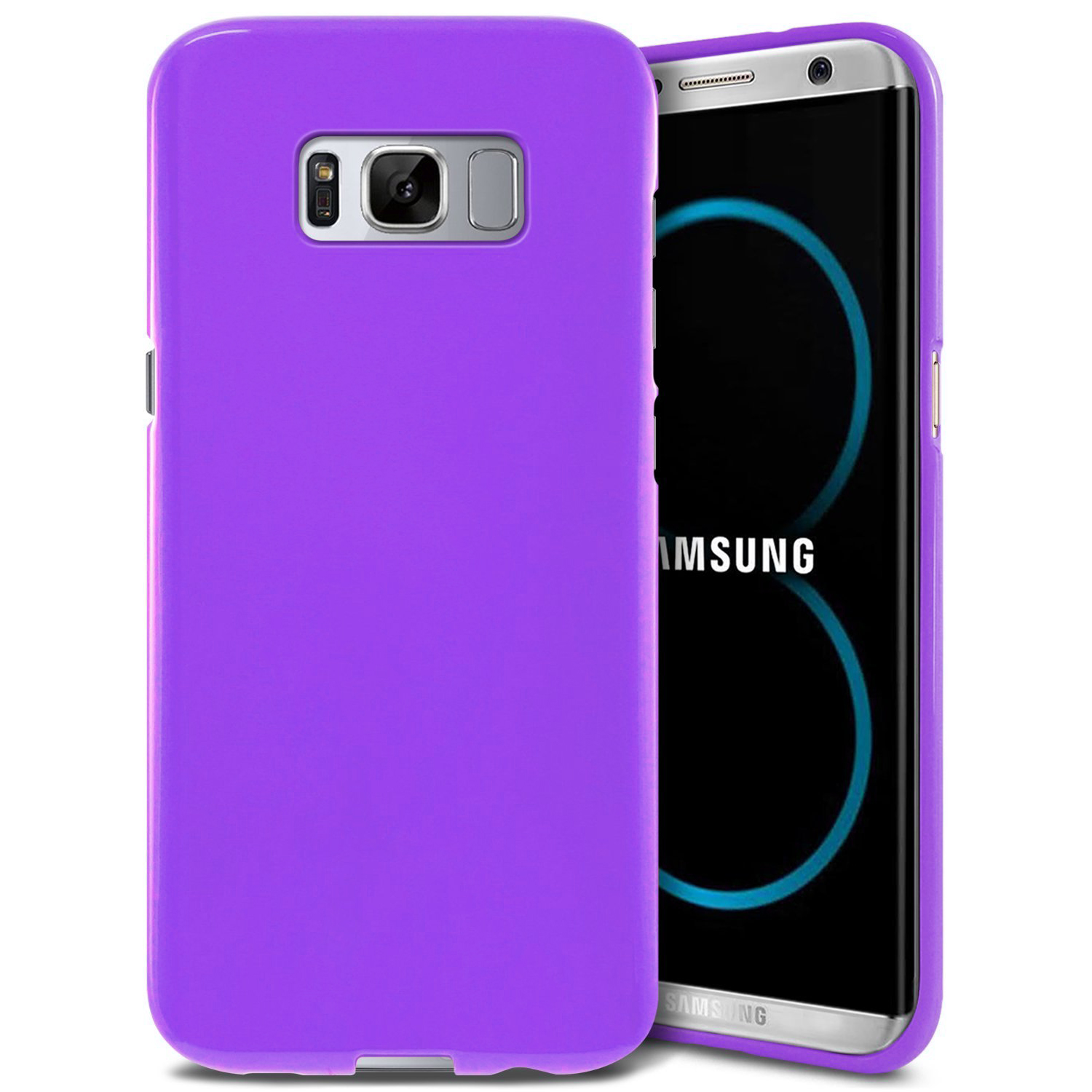 Samsung Galaxy S8 Plus TPU Case,[REDshield] Slim & Flexible Anti-shock Crystal Silicone Protective TPU Gel Skin Case Cover [Purple] with Travel Wallet Phone Stand