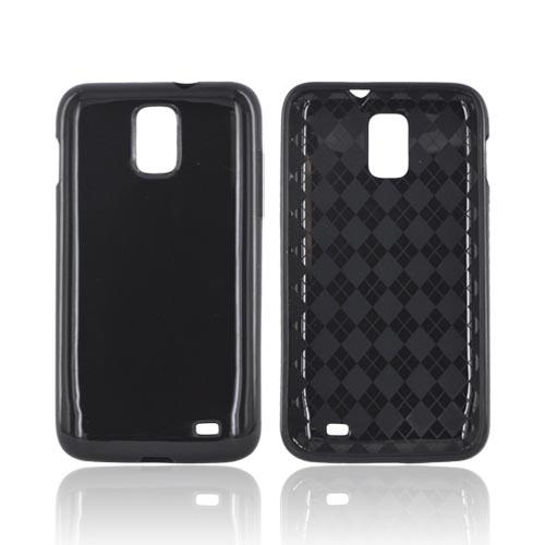 Samsung Galaxy S2 Skyrocket Crystal Silicone Case - Black (Argyle Interior)