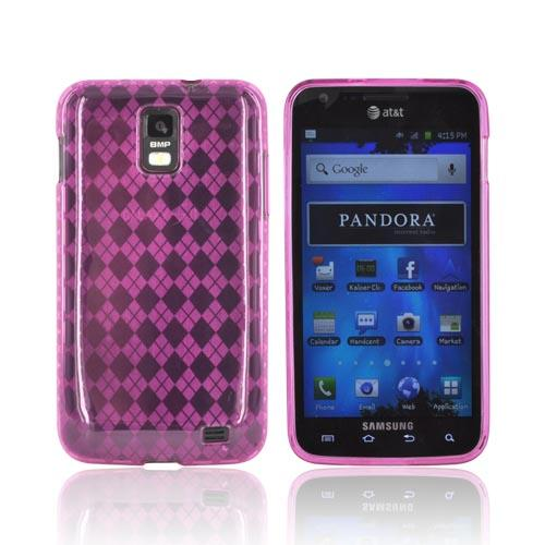Samsung Galaxy S2 Skyrocket Crystal Silicone Case - Hot Pink (Argyle Interior)