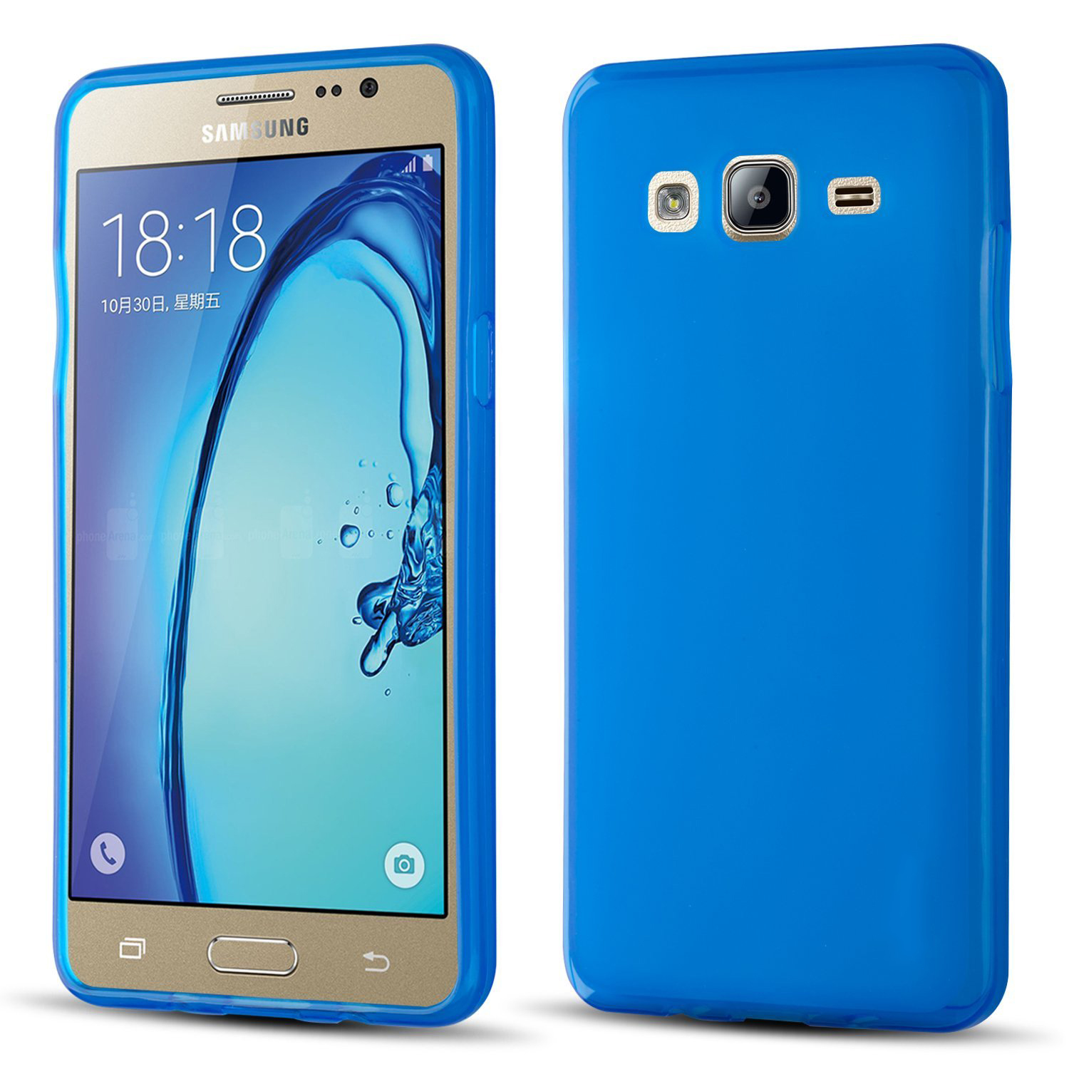 Samsung Galaxy On5 Case, Slim & Flexible Anti-shock Crystal Silicone Protective TPU Gel Skin Case Cover [Blue] with Travel Wallet Phone Stand