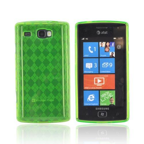 Samsung Focus Flash i677 Crystal Silicone Case - Argyle Neon Green