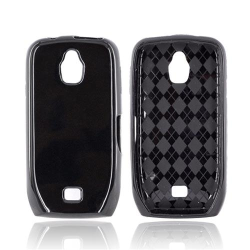 Samsung Exhibit T759 Crystal Silicone Case - Black (Argyle Interior)