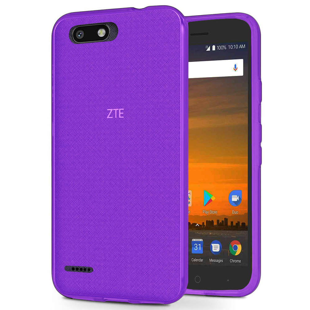 [REDshield] ZTE Blade Force TPU Case, [Purple] Slim & Flexible Anti-shock Crystal Silicone Protective TPU Gel Skin Case Cover