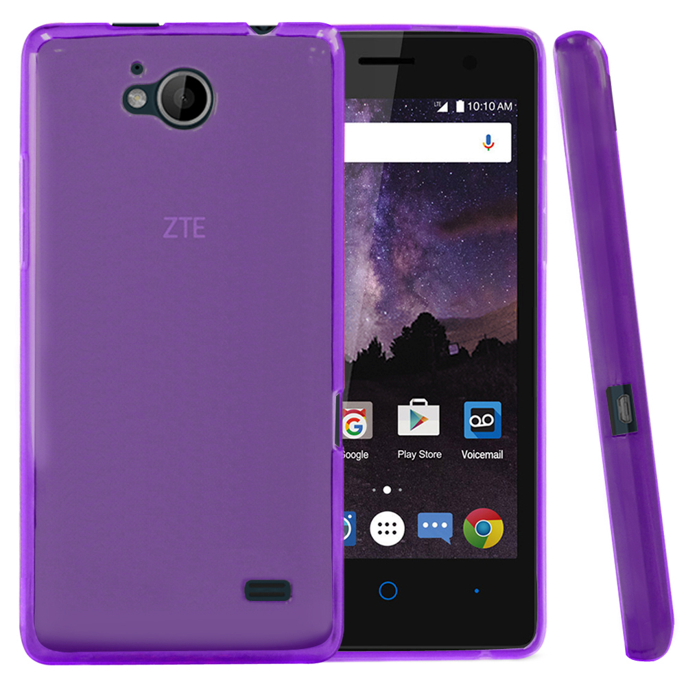 [ZTE Tempo] Case, REDshield [Purple] Slim & Flexible Anti-shock Crystal Silicone Protective TPU Gel Skin Case Cover with Travel Wallet Phone Stand