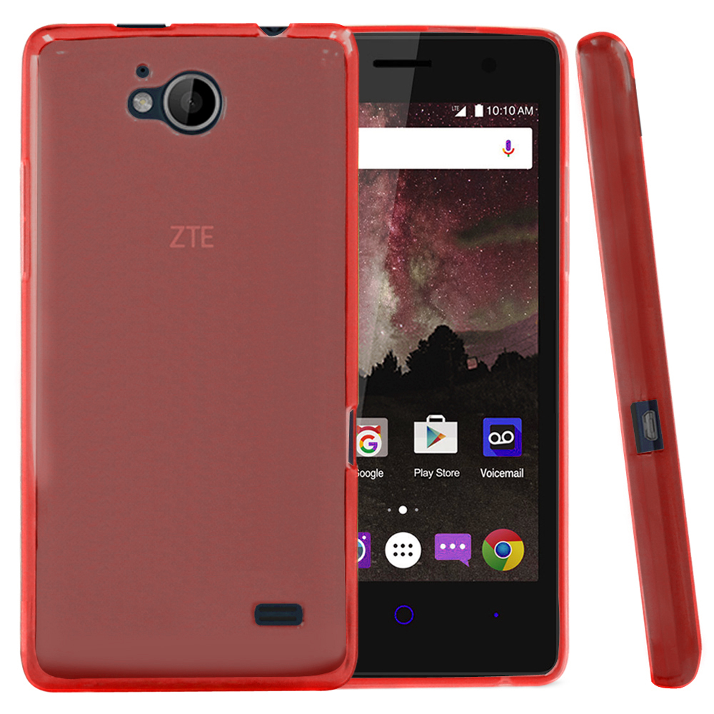 [ZTE Tempo] Case, REDshield [Red] Slim & Flexible Anti-shock Crystal Silicone Protective TPU Gel Skin Case Cover with Travel Wallet Phone Stand