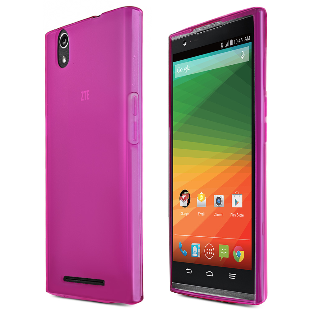 ZMax Case, [Hot Pink / Frost] Slim & Flexible Crystal Silicone TPU Skin Cover for ZTE ZMax