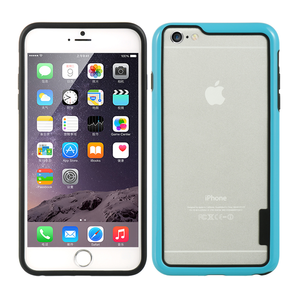 Made for Apple iPhone 6/6S Plus (5.5 inch) Sky Blue/ Black TPU Crystal Silicone Bumper - Show off Your Device While Protecting it! by Redshield