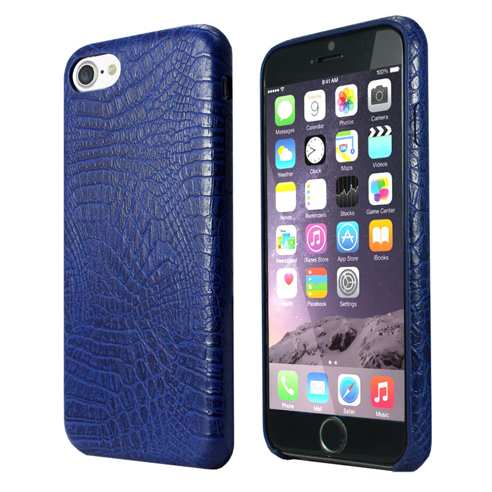 Apple iPhone 8/7/6S/6 Case, Incircle [Bareskin Series] Ultra Slim Fit Faux Leather Flexible Bumper Case [Blue Alligator]