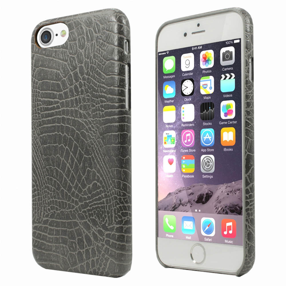 Apple iPhone 8/7/6S/6 Case, Incircle [Bareskin Series] Ultra Slim Fit Faux Leather Flexible Bumper Case [Gray Alligator]