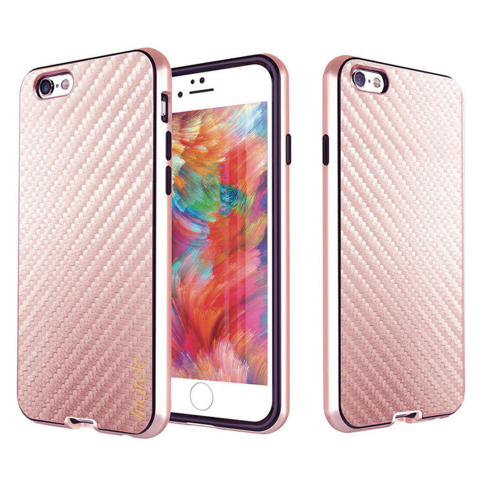 Made for Apple iPhone 6/6S (4.7 inch) Case, Incircle [Dual Protection Series] Premium Carbon Fiber Design Bumper Cover Case [Rose Gold] by Redshield