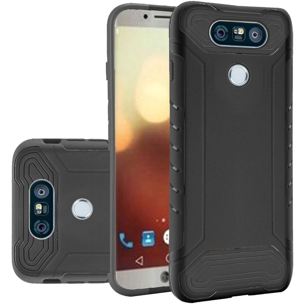 LG G6 Hybrid Case, Shockproof Protection TPU & PC Hybrid Cover Case [Black] with Travel Wallet Phone Stand