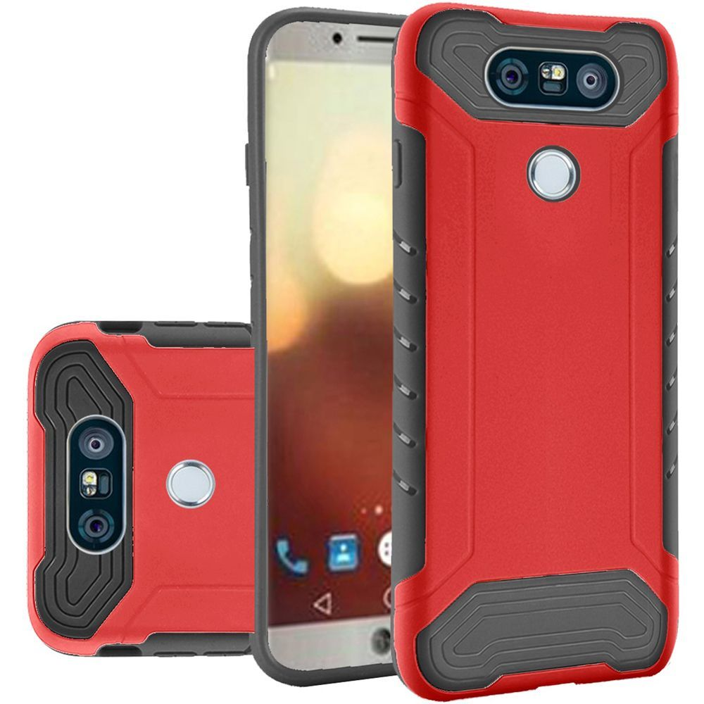LG G6 Hybrid Case, Shockproof Protection TPU & PC Hybrid Cover Case [Red/ Black] with Travel Wallet Phone Stand