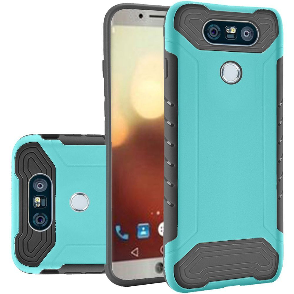 LG G6 Hybrid Case, Shockproof Protection TPU & PC Hybrid Cover Case [Teal/ Black] with Travel Wallet Phone Stand