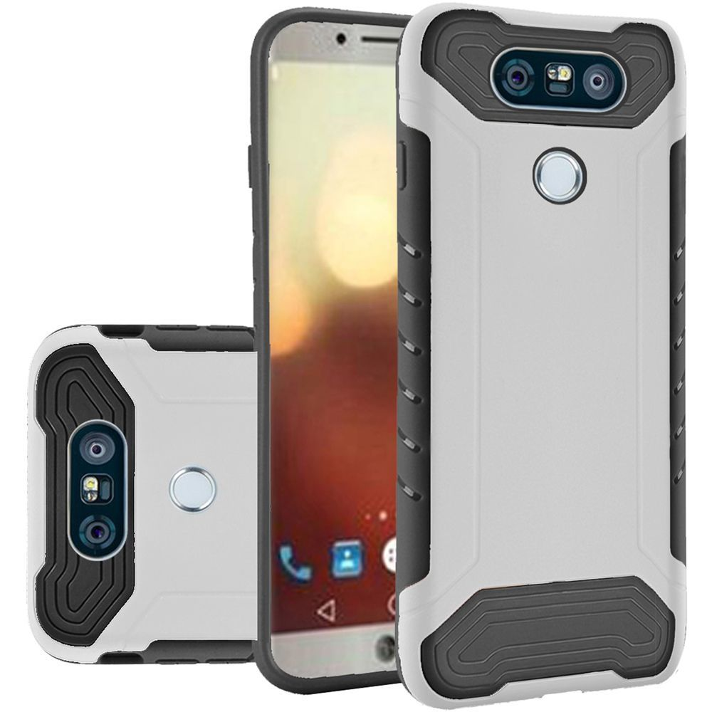 LG G6 Hybrid Case, Shockproof Protection TPU & PC Hybrid Cover Case [White/ Black] with Travel Wallet Phone Stand