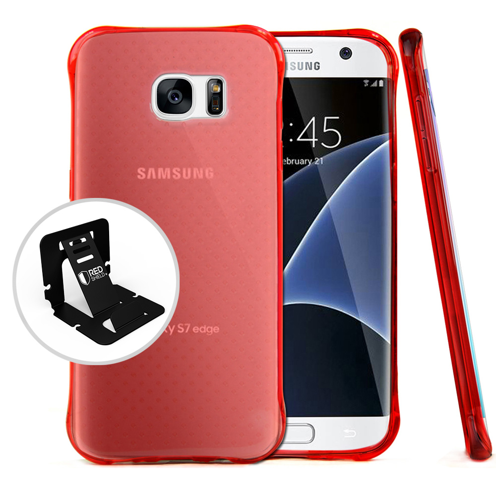 Samsung Galaxy S7 Edge Case,  REDshield [Red] Durable Anti-shock Crystal Silicone Protective TPU Gel Skin Case Cover with Travel Wallet Phone Stand