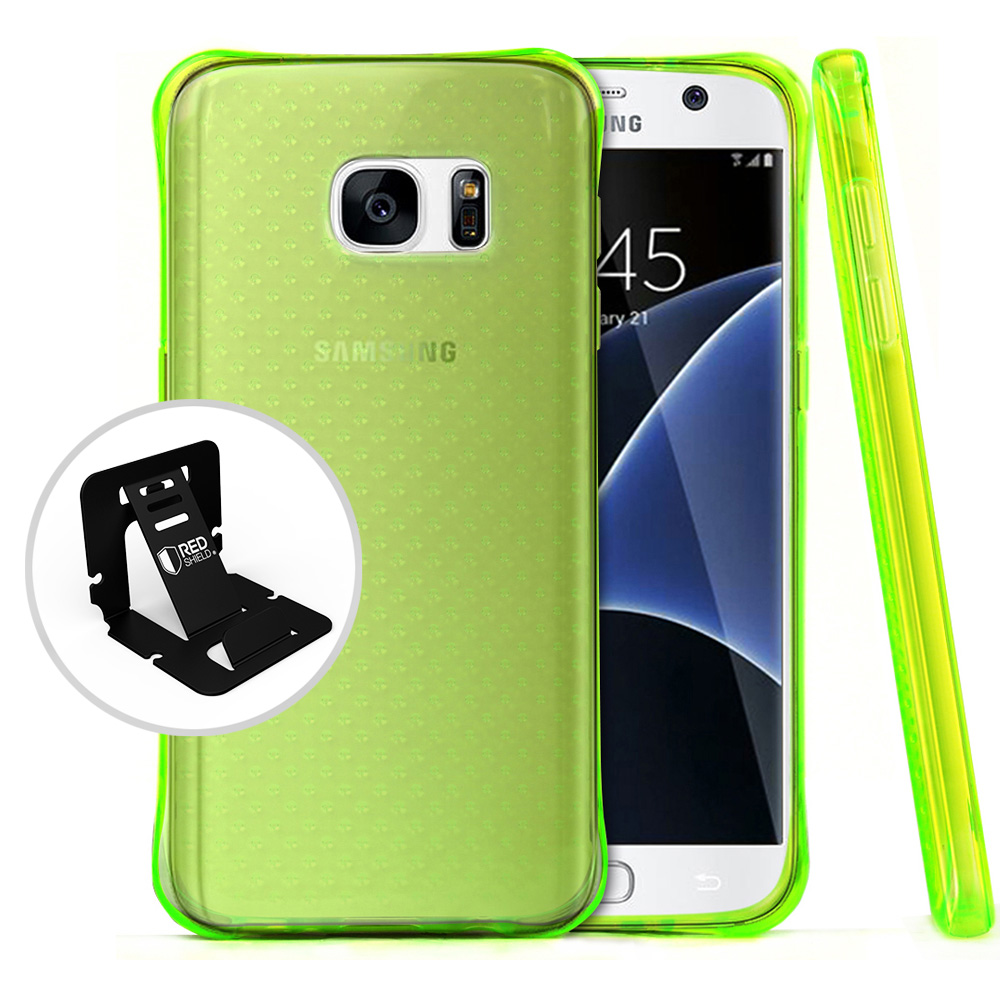 Samsung Galaxy S7 Case,  REDshield [Neon Green] Durable Anti-shock Crystal Silicone Protective TPU Gel Skin Case Cover with Travel Wallet Phone Stand