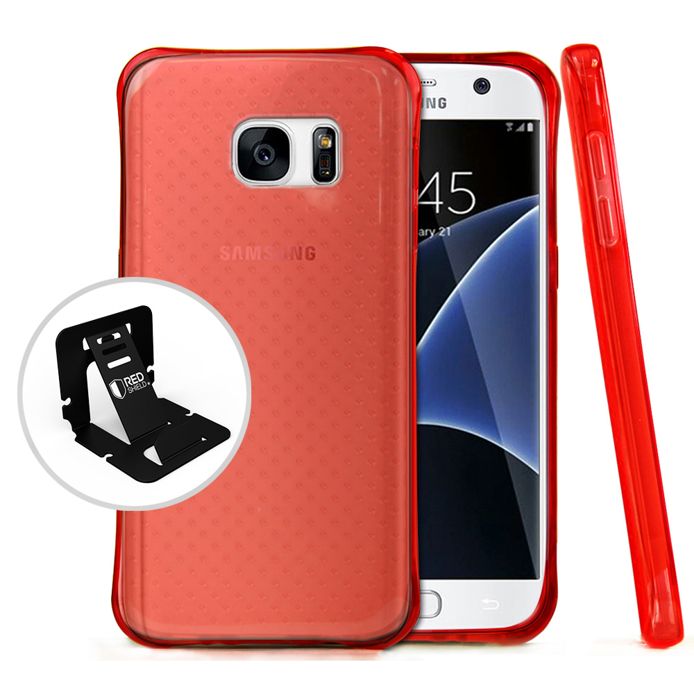 Samsung Galaxy S7 Case,  REDshield [Red] Durable Anti-shock Crystal Silicone Protective TPU Gel Skin Case Cover with Travel Wallet Phone Stand