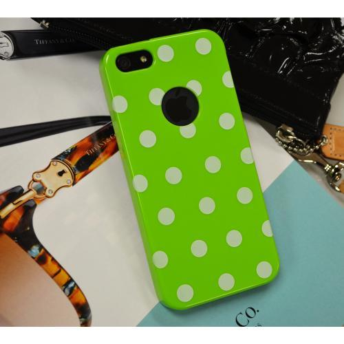 Apple iPhone SE / 5 / 5S  Case,  [Lime Green/ White Polka Dots] Dot jelly Series Slim & Flexible Anti-shock Crystal Silicone Protective TPU Gel Skin Case Cover