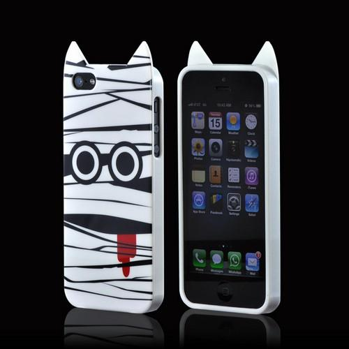 Apple iPhone SE / 5 / 5S  Case,  [White Mummy]  Slim & Flexible Anti-shock Crystal Silicone Protective TPU Gel Skin Case Cover w/ Pointy Ears
