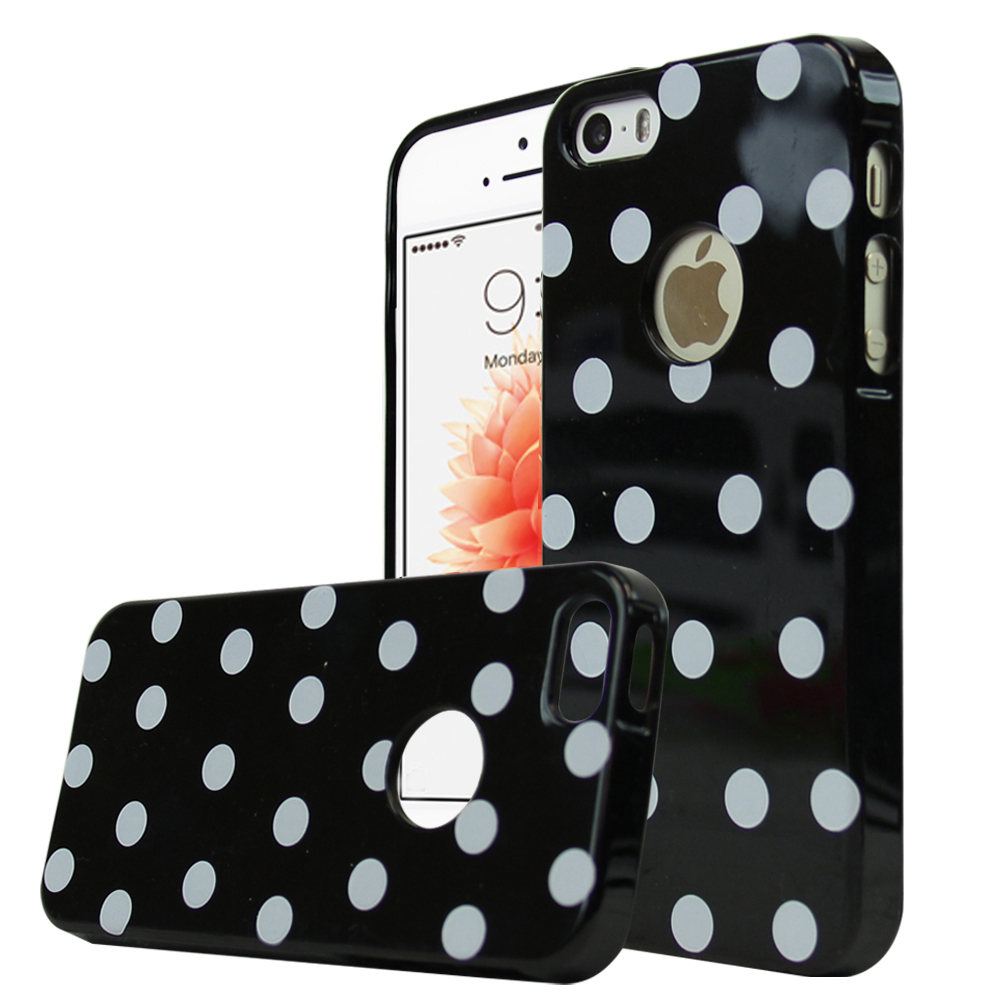 Apple iPhone SE/5/5S Case,  [Black/ White Polka Dots] Dot jelly Series Slim & Flexible Anti-shock Crystal Silicone Protective TPU Gel Skin Case Cover