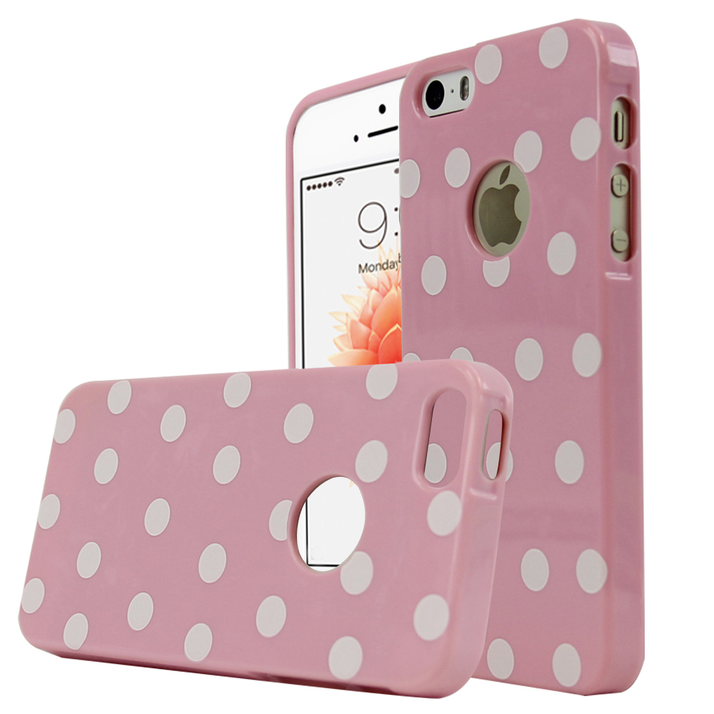 Made for Apple iPhone SE/5/5S Case,  [Baby Pink/ White Polka Dots] Dot jelly Series Slim Flexible Anti-shock Crystal Silicone Protective TPU Gel Skin Case Cover by Redshield