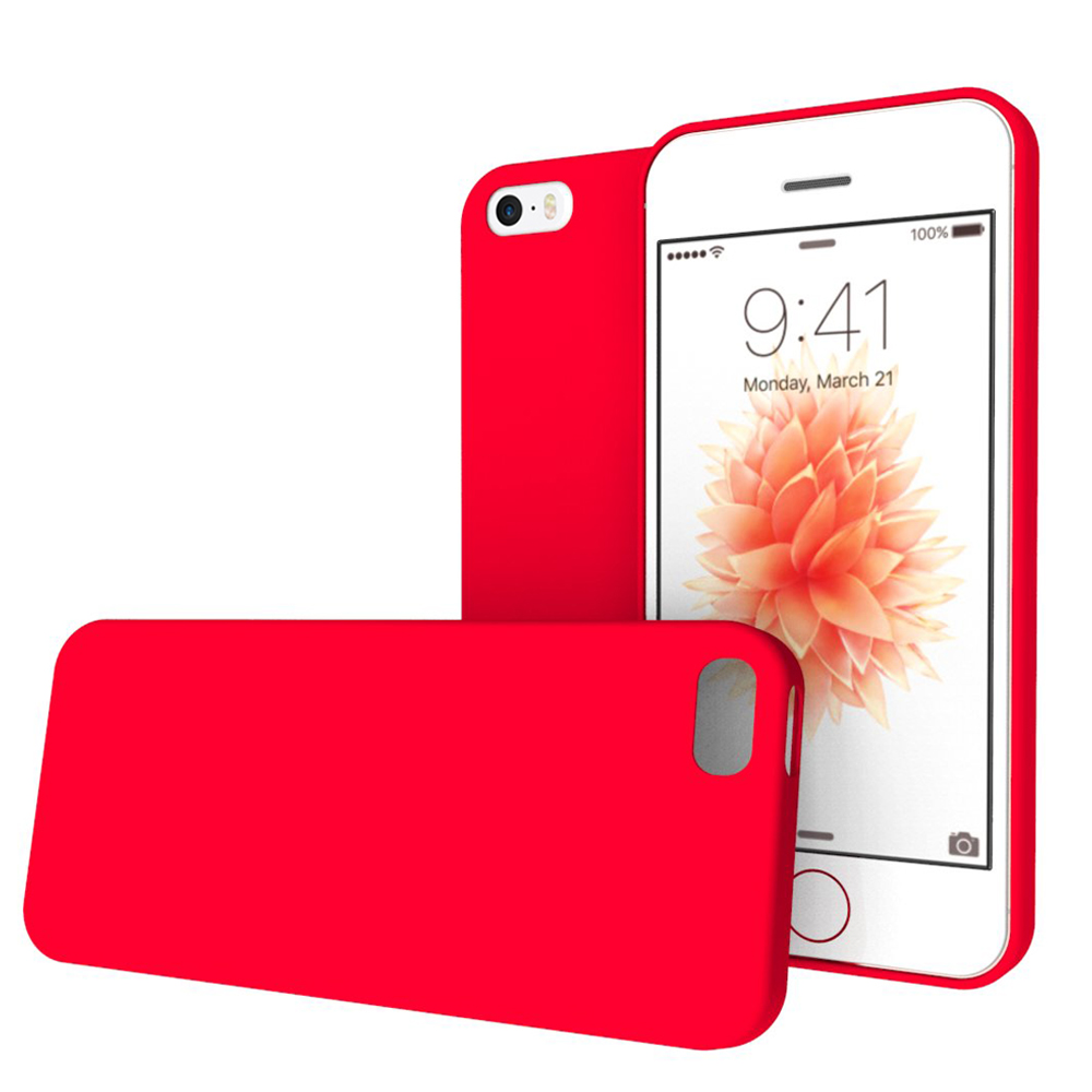 Apple iPhone SE / 5 / 5S  Case, REDshield [Red] Crayon Series Slim & Flexible Anti-shock Crystal Silicone Protective TPU Gel Skin Case Cover