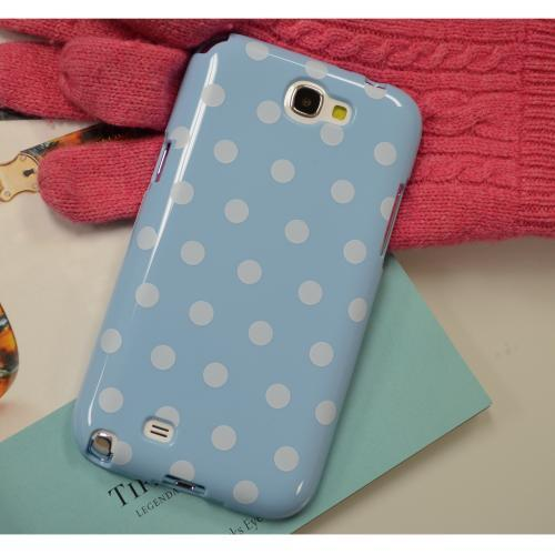 Sky Blue/ White Polka Dots Anti-Slip Dot Jelly Series Crystal Silicone Case for Samsung Galaxy Note 2
