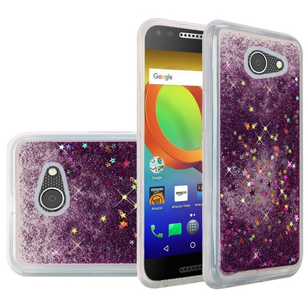 Alcatel A30 Glitter Case, Slim & Flexible Anti-shock Hybrid Flexible TPU Case Cover Liquid W/ Glitter & Stars [Purple] with Travel Wallet Phone Stand