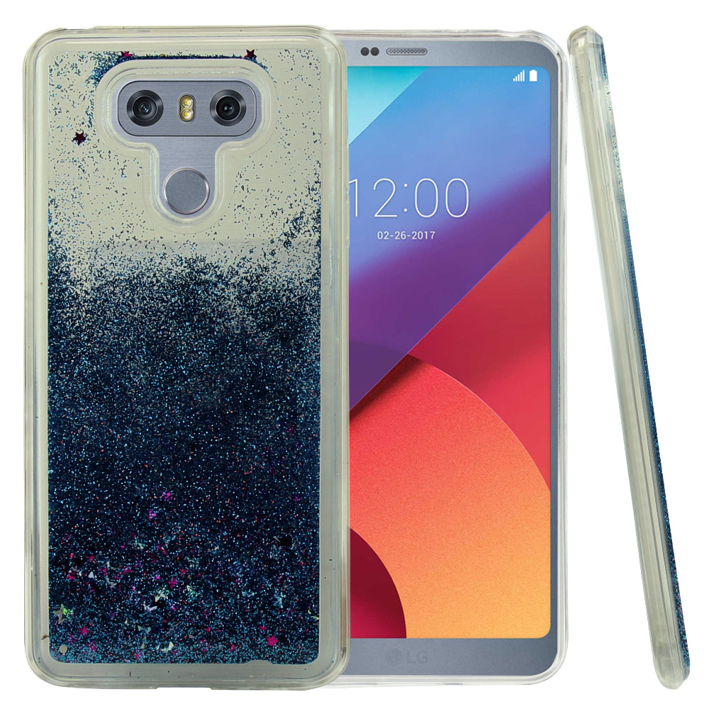LG G6 Glitter Case, Slim & Flexible Anti-shock Hybrid Flexible TPU Case Cover, Liquid W/ Glitter & Stars [Turquoise] with Travel Wallet Phone Stand