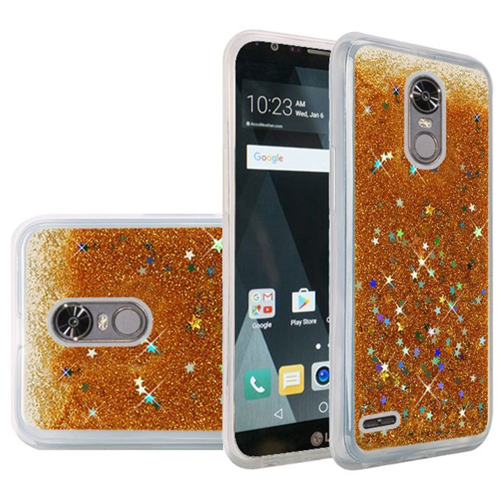 LG Stylo 3/ 3 Plus Case, Slim & Flexible Anti-shock Hybrid Flexible TPU Case Cover, Liquid W/ Glitter & Stars [Gold] Travel Wallet Phone Stand