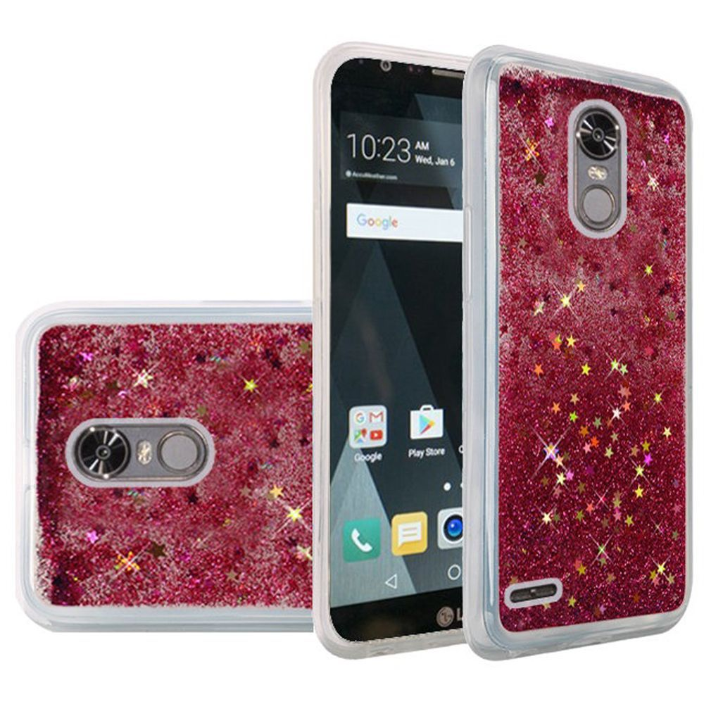 LG Stylo 3/ 3 Plus Case, Slim & Flexible Anti-shock Hybrid Flexible TPU Case Cover, Liquid W/ Glitter & Stars [Hot Pink] Travel Wallet Phone Stand