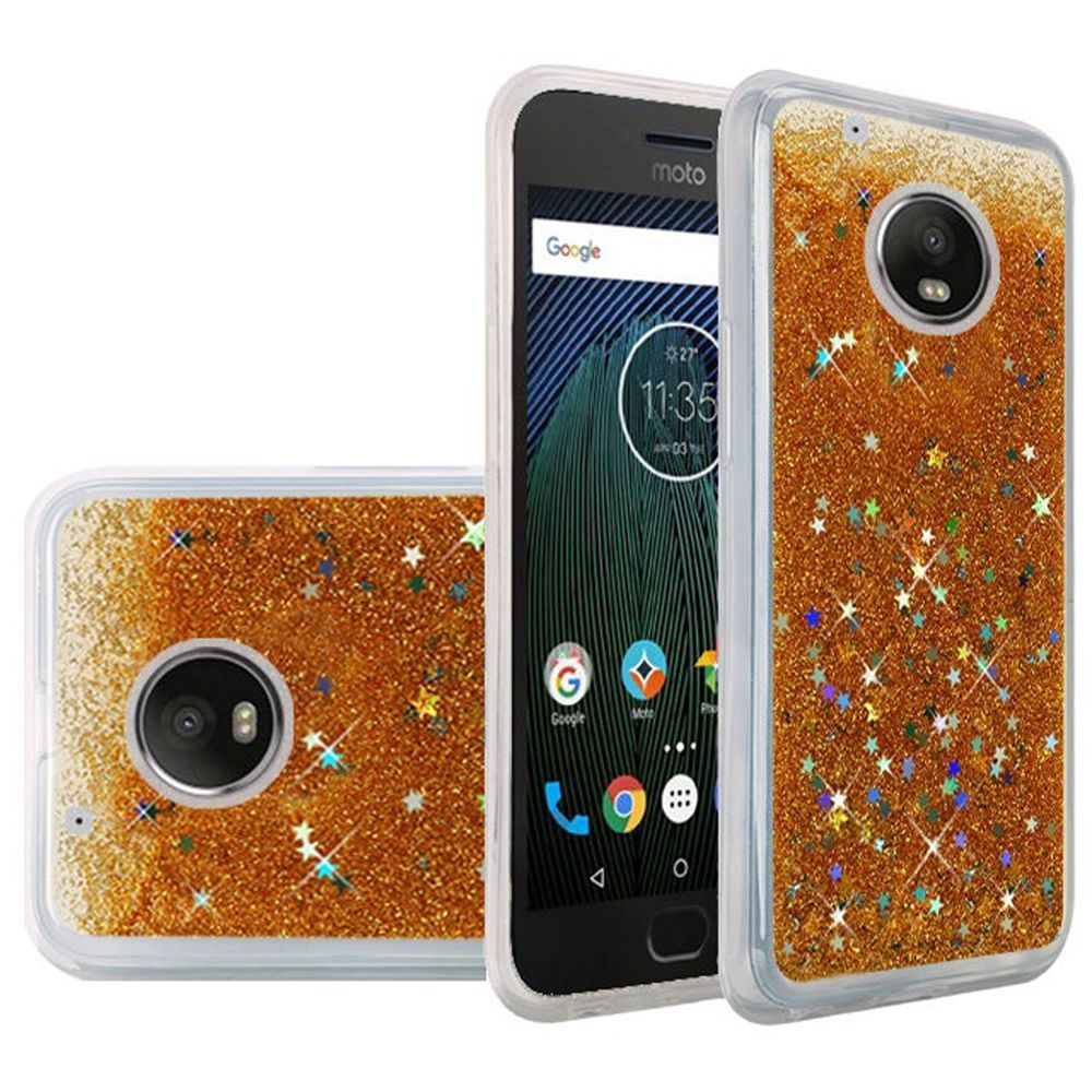 Motorola Moto G5 Plus Case, Slim & Flexible Anti-shock Hybrid Flexible TPU Case Cover, Liquid W/ Glitter & Stars [Gold] with Travel Wallet Phone Stand