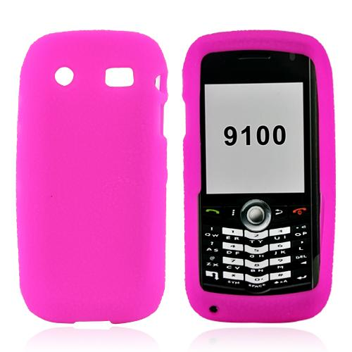 Blackberry Pearl 3G 9100/9105 Leathery Textured Silicone Case, Rubber Skin - Hot Pink