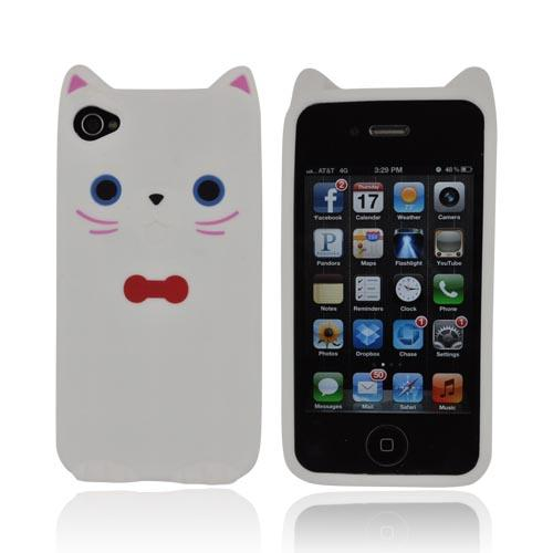 Premium AT&T/ Verizon Apple iPhone 4, iPhone Cute Cat w/ Bow Tie Silicone Case - White/ Red