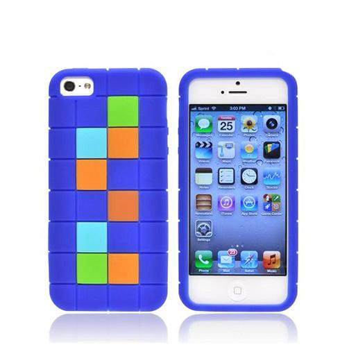 Apple iPhone SE / 5 / 5S  Case,  [Green/ Blue/ Brown Blocks on Dark Blue]  Slim & Flexible Anti-shock Crystal Silicone Protective TPU Gel Skin Case Cover