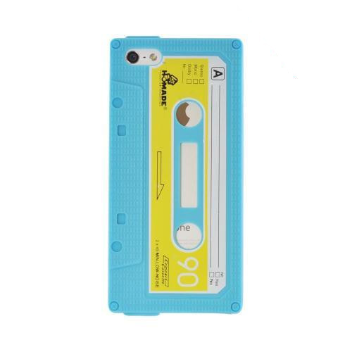 Apple iPhone SE / 5 / 5S  Case,  [Blue Cassette Tape Design]  Slim & Flexible Anti-shock Crystal Silicone Protective TPU Gel Skin Case Cover