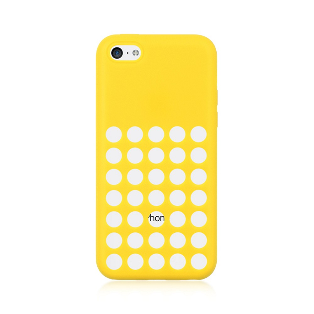 Yellow Silicone Skin Case w/ Holes for Apple iPhone 5C