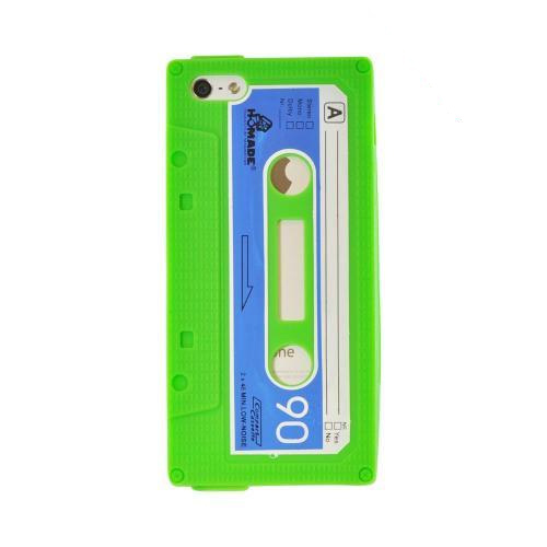 Apple iPhone SE / 5 / 5S  Case,  [Green Cassette Tape Design]  Slim & Flexible Anti-shock Crystal Silicone Protective TPU Gel Skin Case Cover