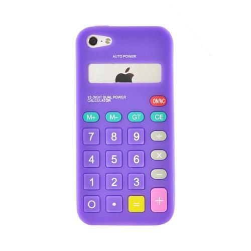 Apple iPhone SE / 5 / 5S  Case,  [Purple Calculator]  Slim & Flexible Anti-shock Crystal Silicone Protective TPU Gel Skin Case Cover