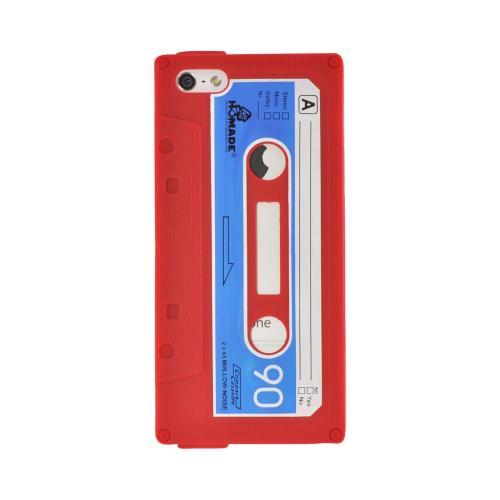 Apple iPhone SE / 5 / 5S  Case,  [Red Cassette Tape Design]  Slim & Flexible Anti-shock Crystal Silicone Protective TPU Gel Skin Case Cover