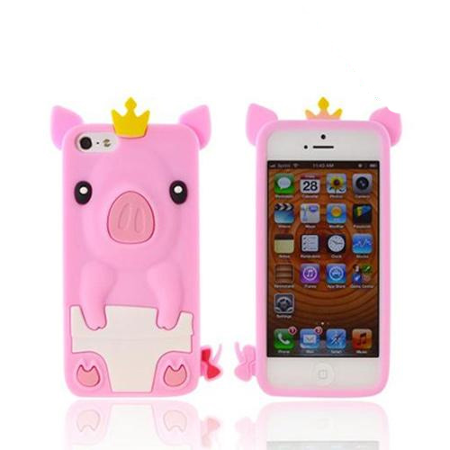 Apple iPhone SE / 5 / 5S  Case,  [Pink Royal Piglet]  Slim & Flexible Anti-shock Crystal Silicone Protective TPU Gel Skin Case Cover