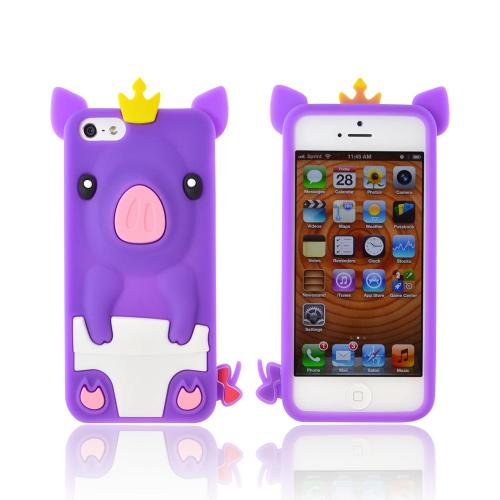 Apple iPhone SE / 5 / 5S  Case,  [Purple Royal Piglet]  Slim & Flexible Anti-shock Crystal Silicone Protective TPU Gel Skin Case Cover