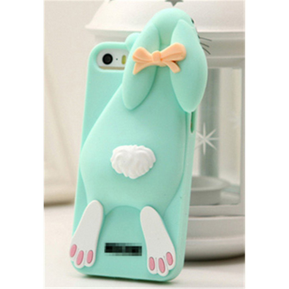 [REDshield] Apple iPhone 8 / 7 3D Silicone Case, [Mint Bunny Rabbit] Flexible Anti-shock Silicone Protective Skin Case Cover