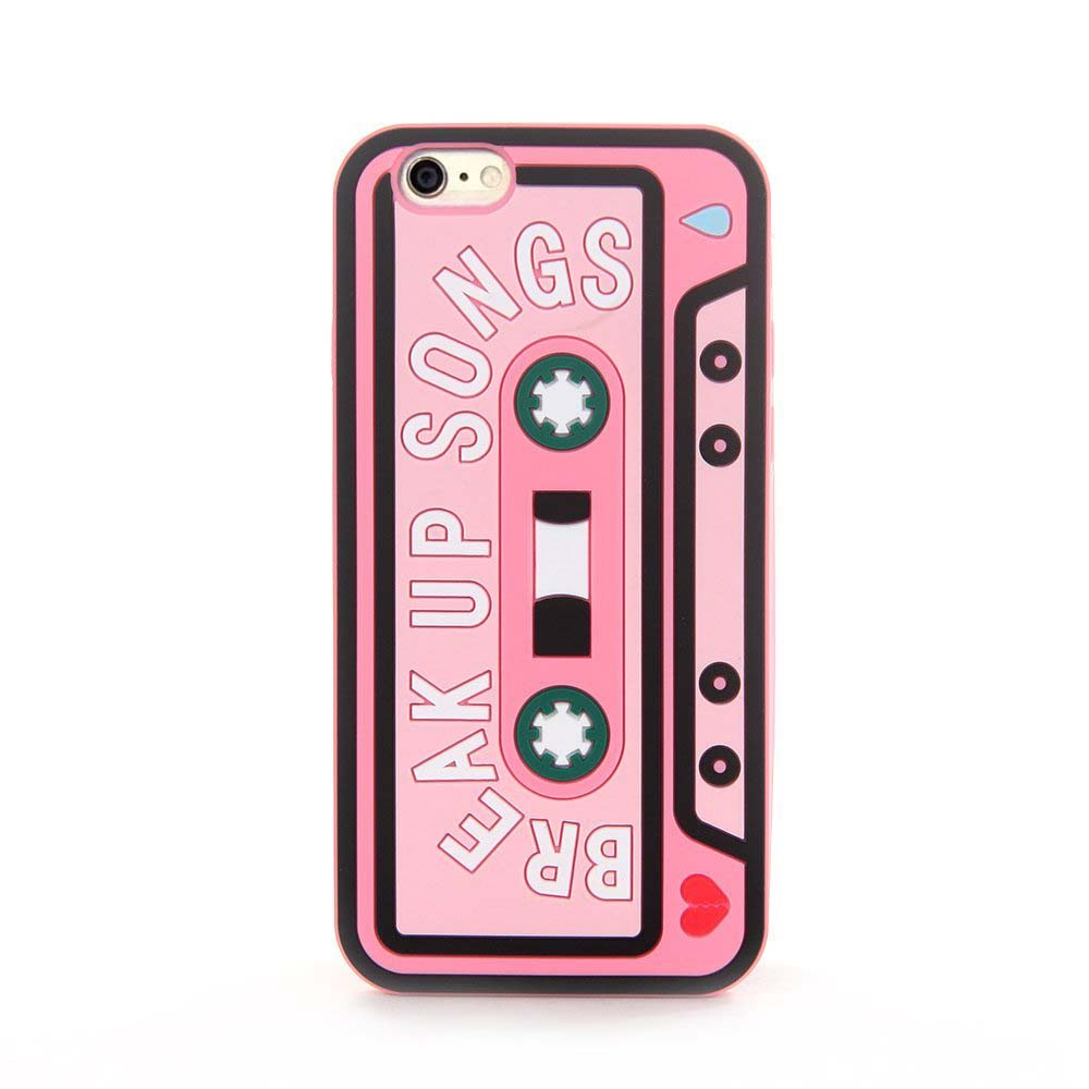 Made for Apple iPhone 8 / 7 / 6S / 6 3D Silicone Case, [Break Up Songs on Baby Pink] Slim Flexible Anti-shock Silicone Protective Skin Case Cover by Redshield